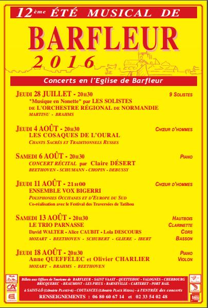 Affiche Eté musical Barfleur 2016