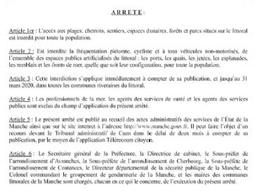 ARRÊTÉ D'INTERDICTION DES PLAGES ET DU LITTORAL