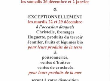 Les commerçants du marché présents les mardis 22 et 29 décembre