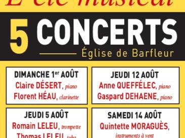 1 août : Concert de Claire Désert (piano) et Florent Héau (clarinette)