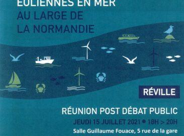 Eoliennes en mer : réunion post débat public le 15 juillet 2021 à Réville